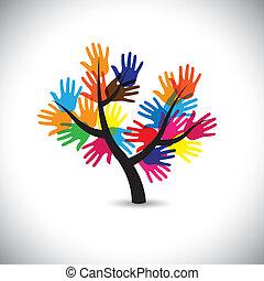 colorito, &, vecto, foglie, mano, tree-, palma, fiori, impronte