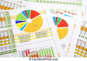 colorito, vendite, grafici, relazione, cifre