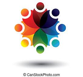 colorito, vettore, cerchio, concetto, bambini, scuola, cultura
