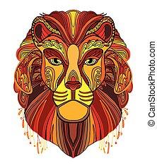 colorito, vettore, leone
