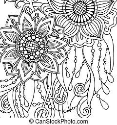 coloritura, astratto, augurio, book., flowers., adulto, pagina, scheda