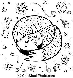 coloritura, carino, nero, volpe, page., stampa, bianco, in pausa, divertente, animali
