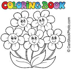 coloritura, fiori, cinque, libro