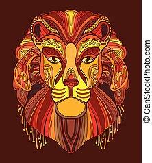 coloritura, illustration., adult., vettore, anti-stress, libro, leone