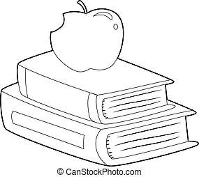 coloritura, mela, delineato, libro, libri, cima