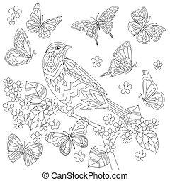 coloritura, ramo, albero, uccello, libro, carino, fioritura, tuo