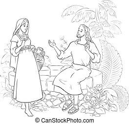 coloritura, samaritan, bene, gesù, donna, pagina