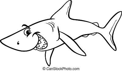 coloritura, squalo, libro, cartone animato, animale