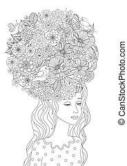 coloritura, tuo, capelli foggiano, ragazza, fiori, pagina