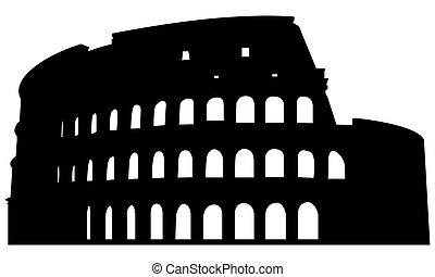 colosseo romano, silhouette