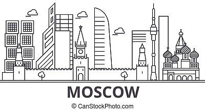 colpi, cityscape, viste, paesaggio, vettore, limiti, illustration., mosca, disegno, famoso, wtih, linea, architettura, orizzonte, città, lineare, editable, icons.