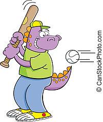 colpire, dinosauro, baseball, cartone animato