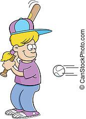 colpire, ragazza, baseball, cartone animato