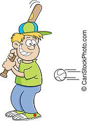 colpire, ragazzo, baseball, cartone animato
