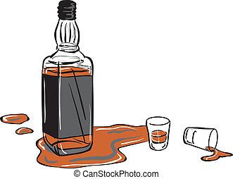 colpo whisky, bottiglia, occhiali