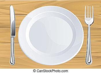 coltelleria, tavola, legno, piastra