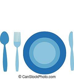 coltello, fondo, isolato, piastra, forchetta, cucchiaio, bianco