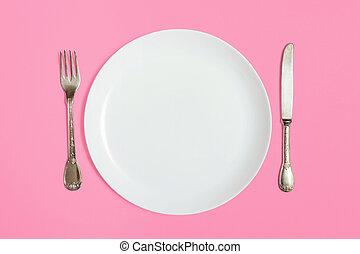 coltello, forchetta, piastra, bianco, vuoto