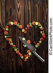 coltello, legno, fondo, verdura, cuore