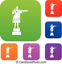 columbus, set, collezione, monumento
