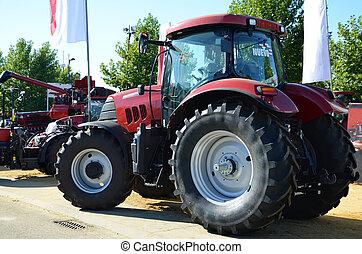 combinare, trattore, rosso