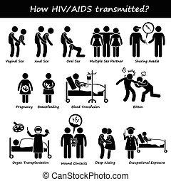 come, spalmare, trasmesso, hiv, aiuti