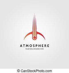 cometa, meteora, vettore, illustrazione, scontrato, emblema, impatto, disegno, logotipo, atmosfera