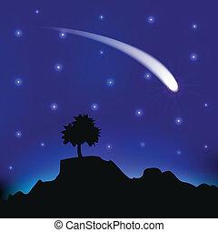 cometa, volare, cielo, notte