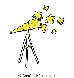 comico, cartone animato, telescopio