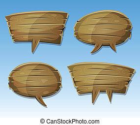 comico, legno, discorso, bolle, set