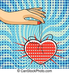 comics, stile, giorno, scheda, valentine