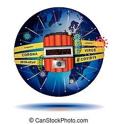 cominciato, etichette, it., -, coronavirus, covid-19, timer, fine, già, illustration., globo, involvere, segni, messaggero, 2019, time., giorno giudizio universale, concettuale, vettore, elettronico, esplosivi