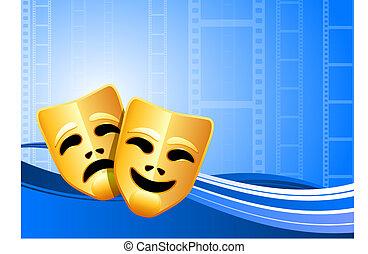 commedia, teatro, fondo, maschere, tragedia