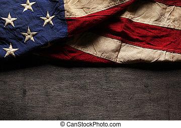 commemorativo, vecchio, bandiera, portato, giorno, americano, 4 luglio, o