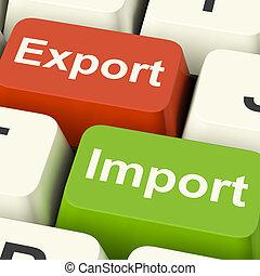 commercio, chiavi, mestiere globale, esportazione, importazione, internazionale, o, mostra