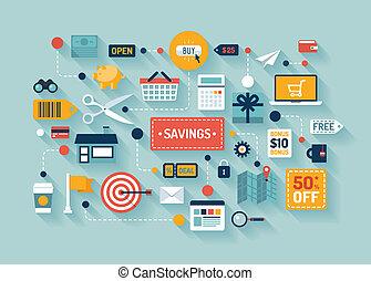 commercio, risparmi, illustrazione, appartamento