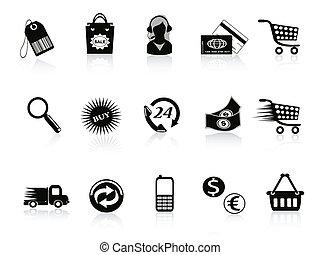 commercio, vendita dettaglio, set, icone