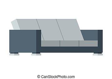 comodo, divano, illustrazione, mobilia, esterno, appartamento, disegno, vettore, moderno