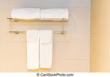 comodo, parete, asciugamano, decorazione, bagno, bianco