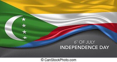 comore, bandiera, scheda, giorno, testo, indipendenza, augurio, vettore, sagoma, illustrazione
