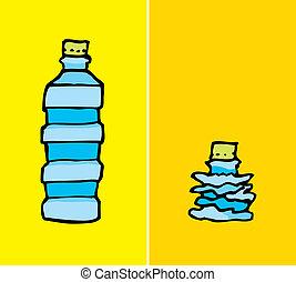 compacted, bottiglia, plastica