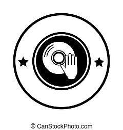 compatto, bordo, disco, silhouette, circolare