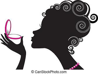 compatto, donna, .make, potere, cosmetic., su, ritratto