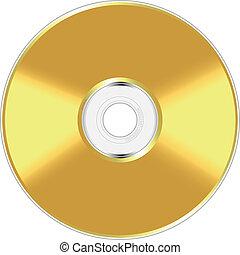 compatto, dorato, disco