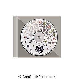 compatto, fiori, disco, silhouette, fondo