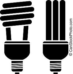 compatto, fluorescente, vettore, lampadine