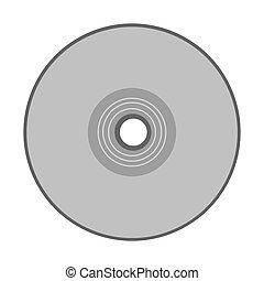compatto, grayscale, disco, silhouette
