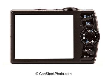 compatto, isolato, macchina fotografica, digitale, bianco, vista posteriore