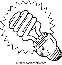 compatto, luce fluorescente, bulbo