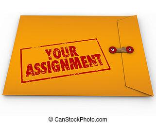compito, assegnazione, busta, giallo, segreto, tuo, istruzioni